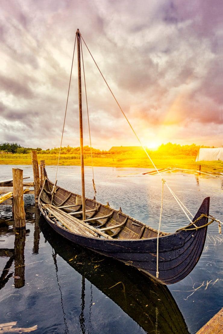 Rebuilt Viking ship in the water in Denmark