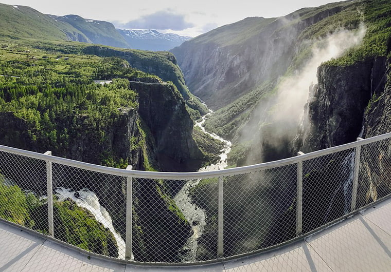 The existing viewpoint at Vøringsfossen, Norway
