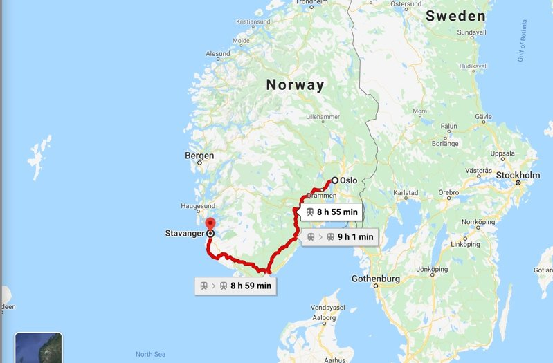 Oslo to Stavanger route
