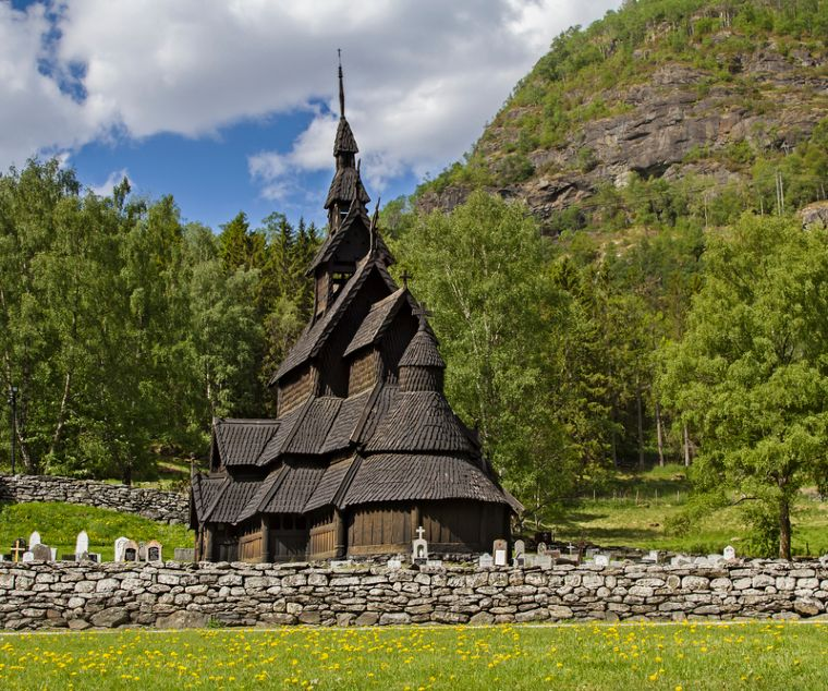 The beautiful setting of Borgund Stave Church in Norway
