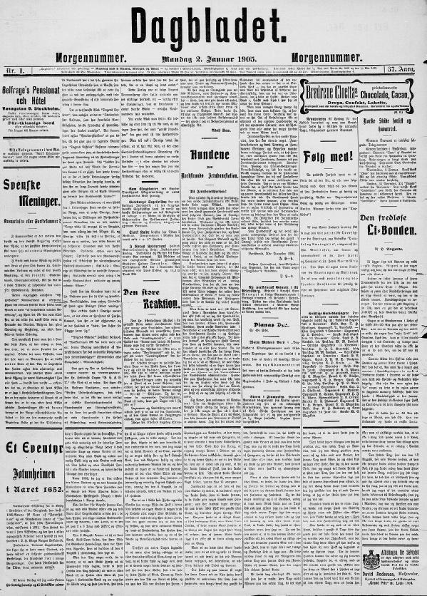 The front cover of Norway's Dagbladet newspaper from January 1905.