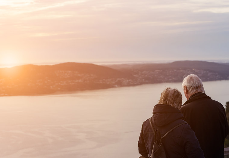 Elderly couple admiring the view in Bergen, Norway