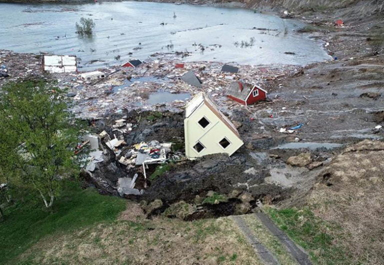 Houses swept into the sea in northern Norway