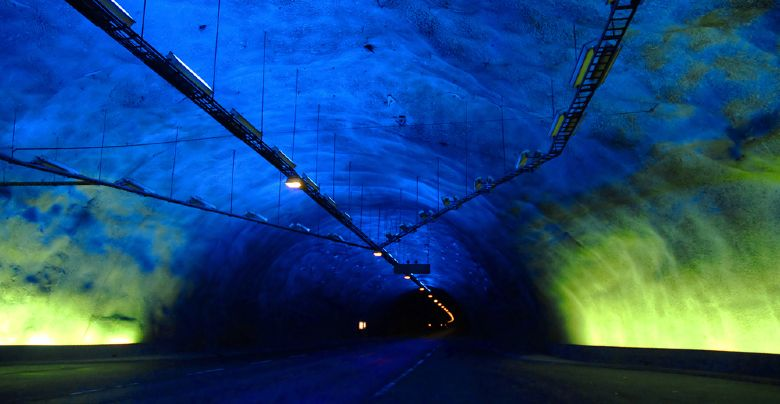 Inside the long Lærdal tunnel in Norway