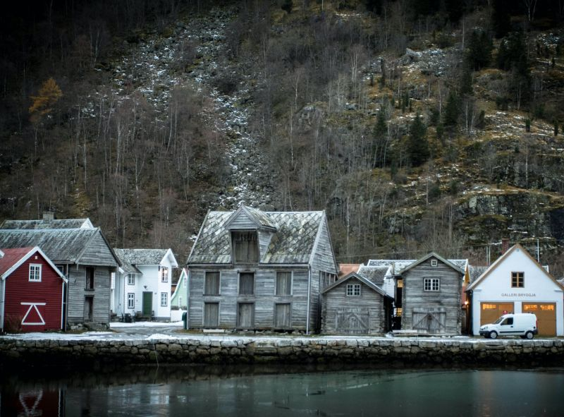 The waterfront of Lærdal village in Norway