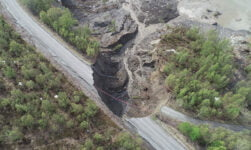 A landslide destroyed a road in northern Norway