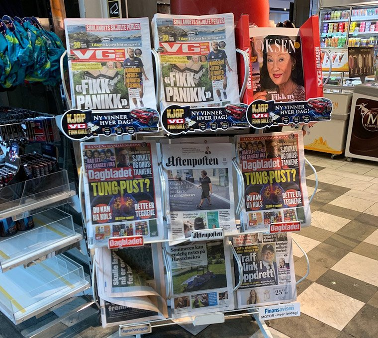 Daily newspapers on sale at a kiosk in Norway