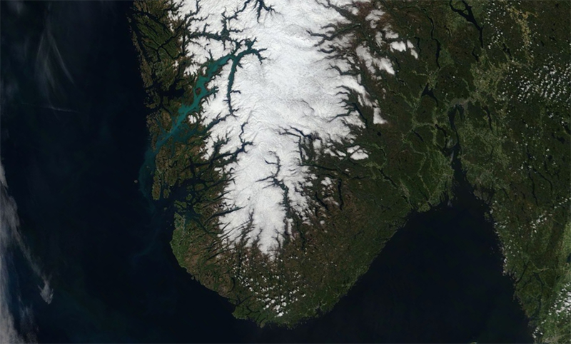 Norway's Hardangerfjord from space