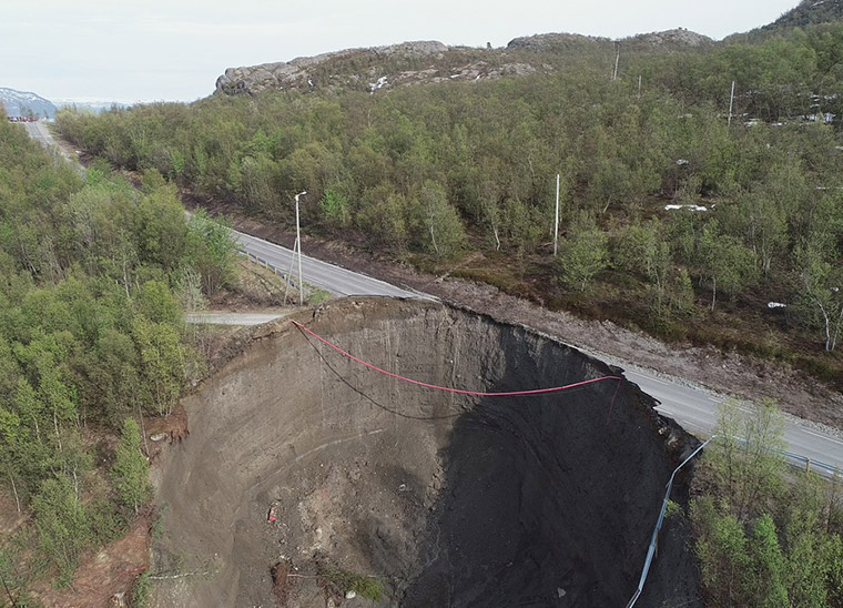 The collapse of the old E6 near Alta, northern Norway