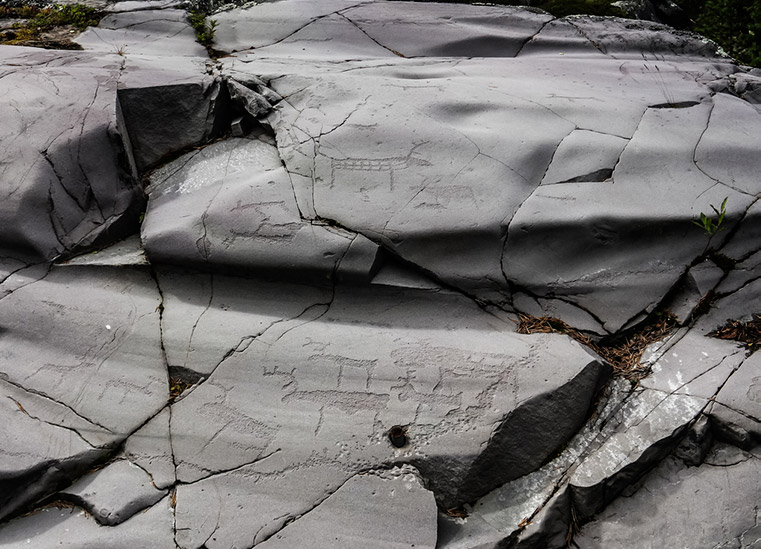 Some of Alta's rock carvings without the red pigment