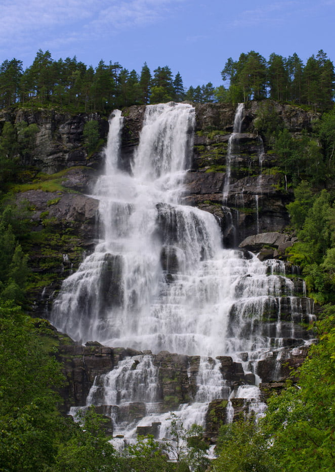 The waterfall Tvindefossen in Voss municipality, Norway