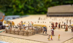 A toy Viking settlement scene in Scandinavia