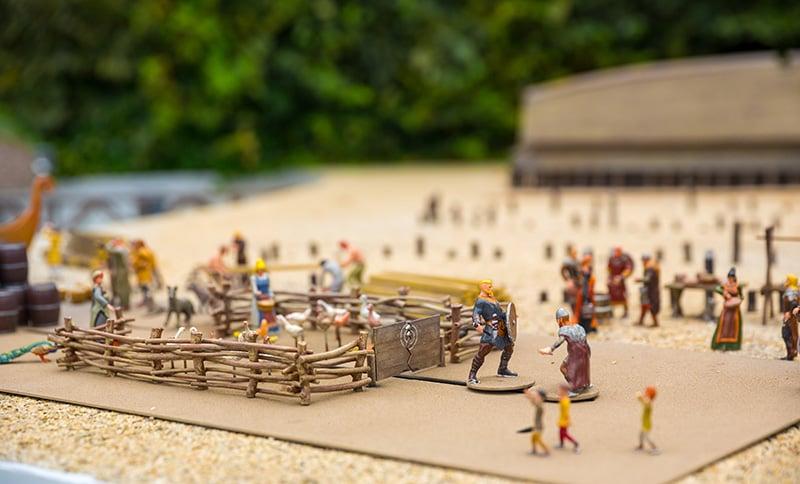 A toy Viking settlement scene in Scandinavia