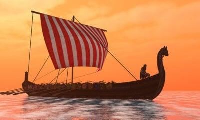 Viking ship with orange sky