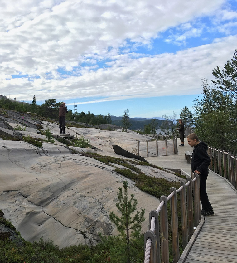Wooden path around the Alta Rock Art Centre in Norway
