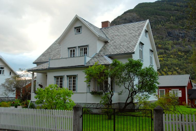 A white house in Lærdal, western Norway