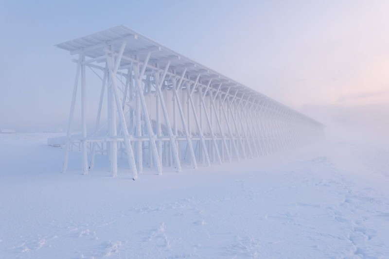 The witch memorial of Vardø in the snow