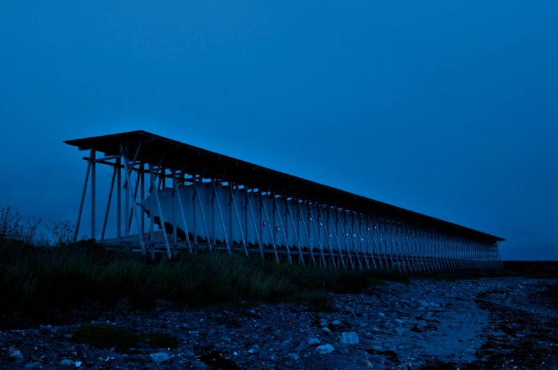 Witch memorial in Vardø, Norway, in blue light