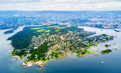 Bygdøy peninsula in Oslo, Norway, from above