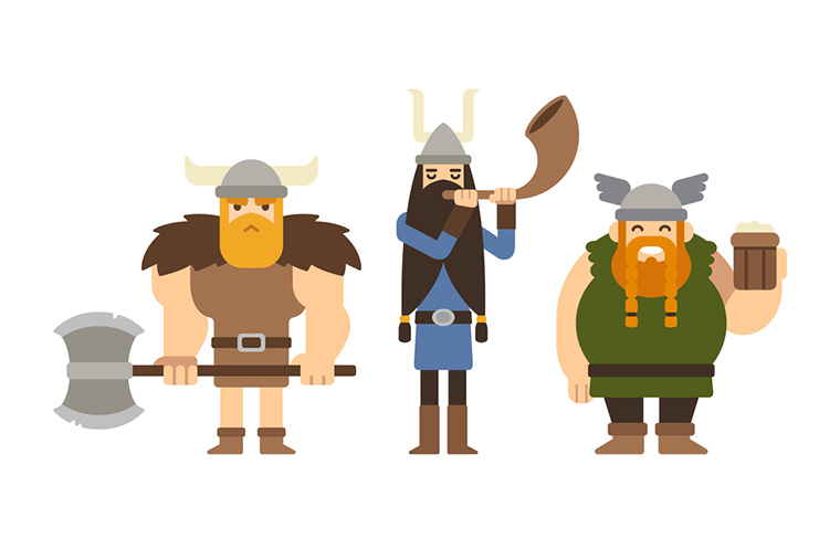 Three cartoon Viking characters