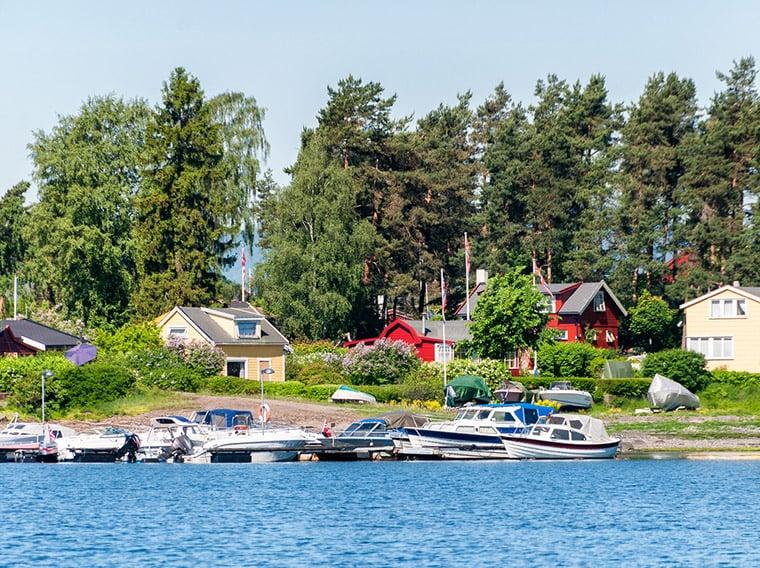 Coastline of the Bygdøy peninsula in Oslo, Norway