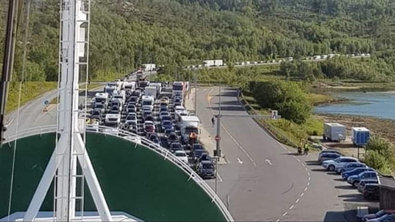 Ferry queue at a terminal in northern Norway