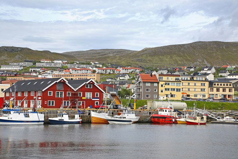 Red houses of the Hammerfest harbour