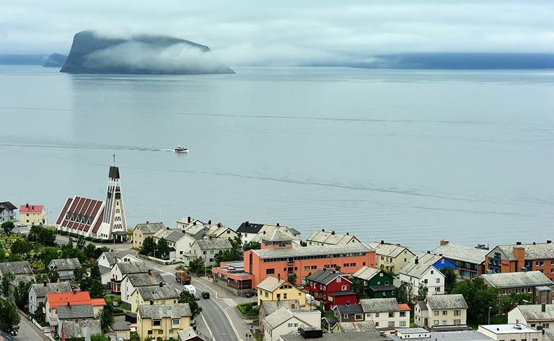 The waterfront of Hammerfest in Finnmark, Norway