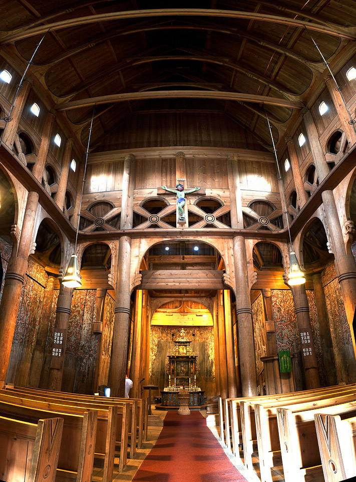 The interior of the Heddal church in Norway