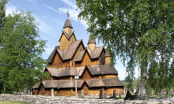 The remarkable exterior of the wooden Heddal stave church in Norway