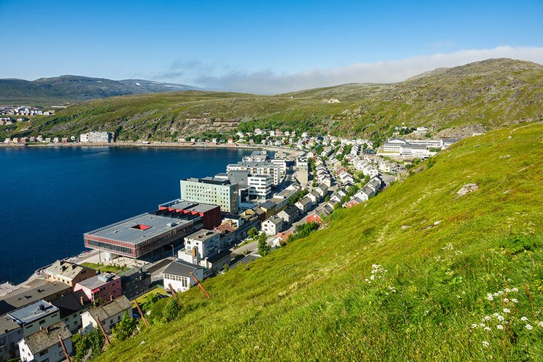 Hiking trails above Hammerfest city centre in northern Norway