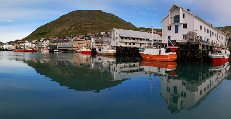 The port of Honningsvåg in Nordkapp municipality, Norway