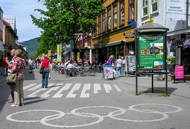 Olympic rings on the pedestrian street in Lillehammer town centre, Norway
