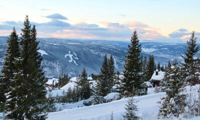 The mountains of Lillehammer in the winter snow