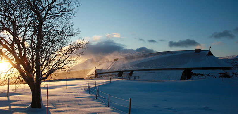 Longhouse at the Lofotr Viking museum in the winter