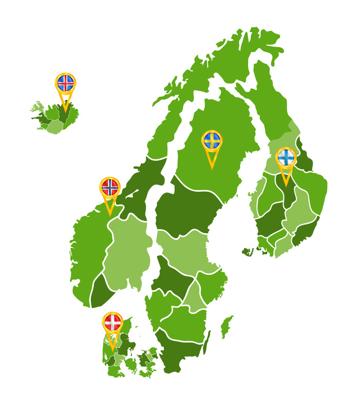 Map of the Nordic region with flags of each country