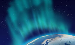 The northern lights above the Nordic region of northern Europe