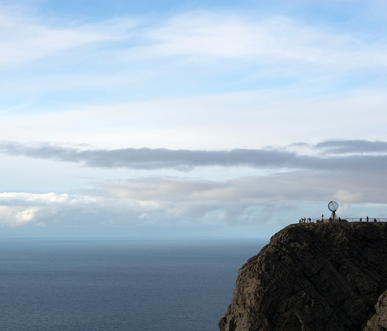 People on the North Cape clifftop in northern Norway