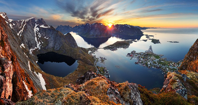 An iconic Norway mountain view in the Lofoten islands