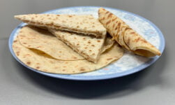 Norwegian lefse on a plate in a Norway kitchen.