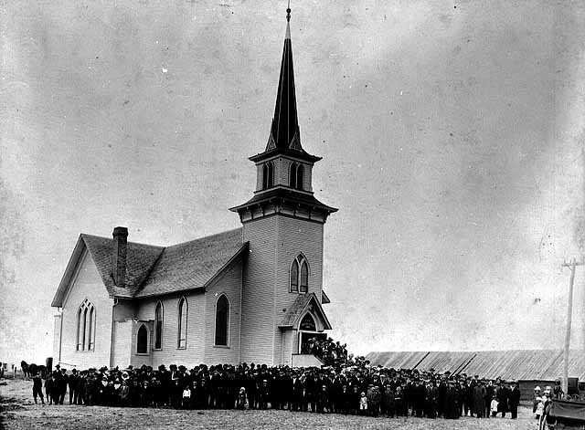 St. Lucas Norwegian Lutheran Church in Minnesota, circa 1900