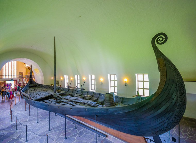 The Oseberg ship in Oslo's Viking ship museum