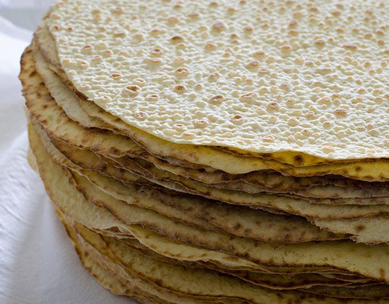 A pile of traditional lefse just baked in Norway