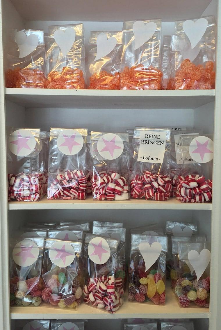 Reinebringen sweets for sale in Reine, Lofoten