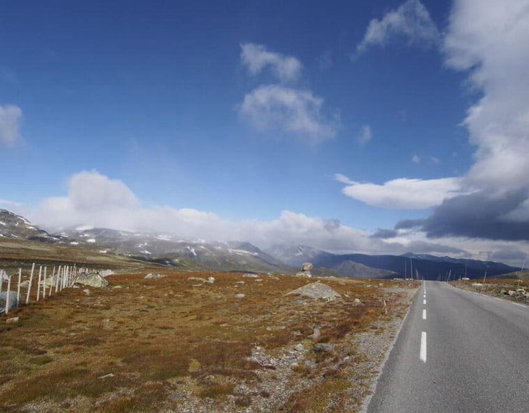 The Valdresflye mountain road in central Norway soars to more than 4,500 feet above sea level.