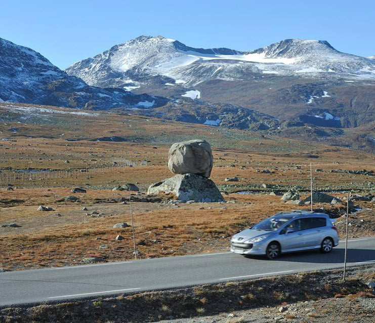 The artwork 'Rock On Top Of Another Rock' catches the eye as you drive along the Valdresflye road in Norway