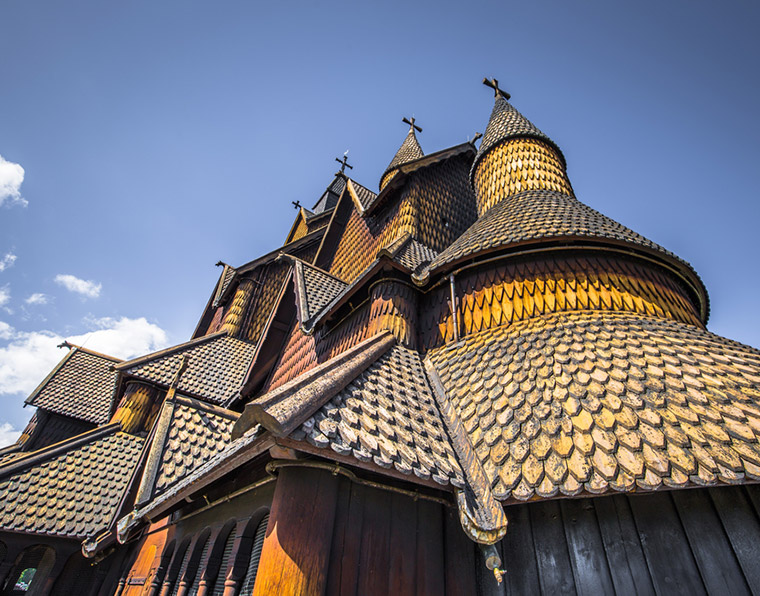 A close shot of the wooden exterior of Heddal stave church in Norway