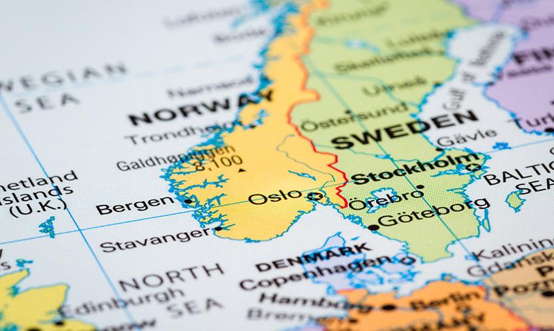 A map of Scandinavia