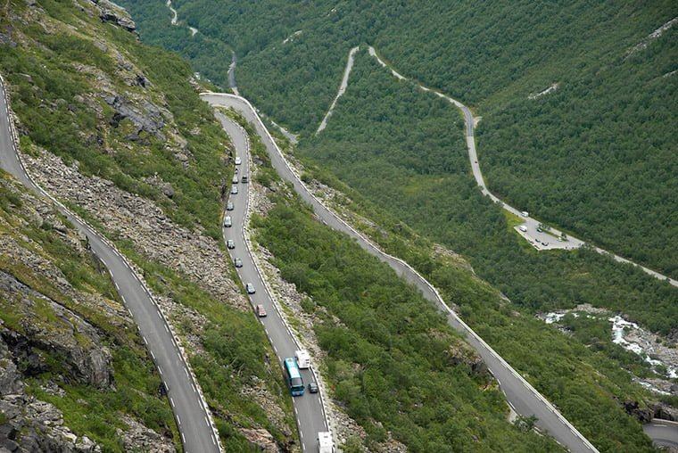An aerial photograph of Norway's Trollstigen mountain pass