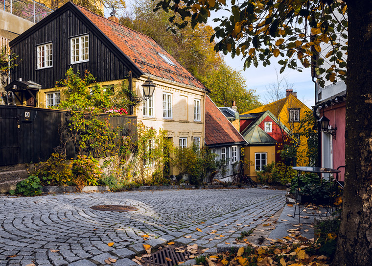 Autumn weather in a cobbled street in Oslo. Norway